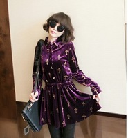 Free  shoping  Retro fashion cross velvet long waist dress TB 2332