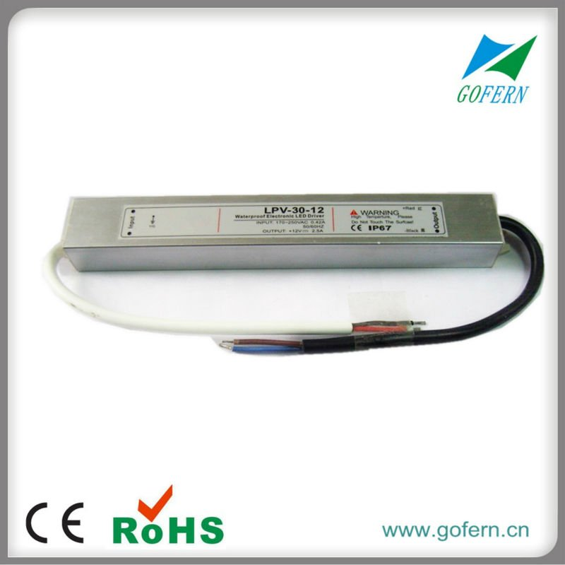 Factory price ! 12V 30W waterproof led driver IP67