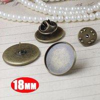 18MM vintage brass bronze round brooch blank back base tray bezels settings1581006-4