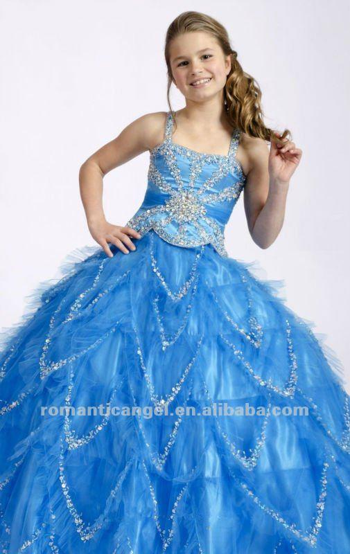 Azul claro con cuentas vestidos de bola para los niños-Vestidos de ...