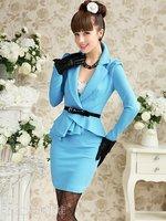 Женское платье 2012 new style, elegant dress, office dress, OL style dress, sheath style dress, blue dress, lady dress, summer dress