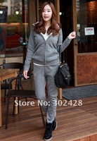 Женские толстовки и Кофты Hot! The lambs wool Leisure Sports Hoodies Set Thickening Sweater+trousers, hoodies clothing women