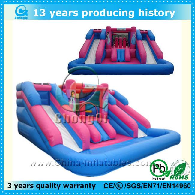 hot splash island inflatable water slide,inflatable splash water slide,inflatable double splash water slide