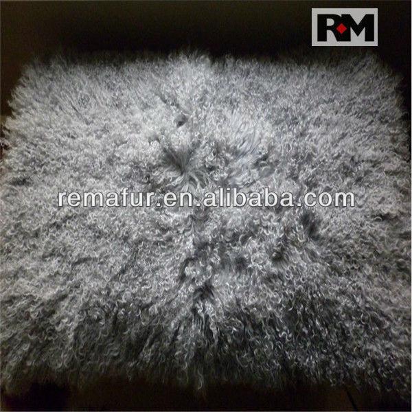 Real Mongolian Tibet Lamb Fur Rug Plate Throw New genuine Wool