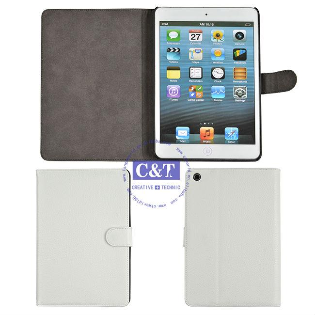 C&T Fashion simple PU leather Flip cover skin for ipad mini 2