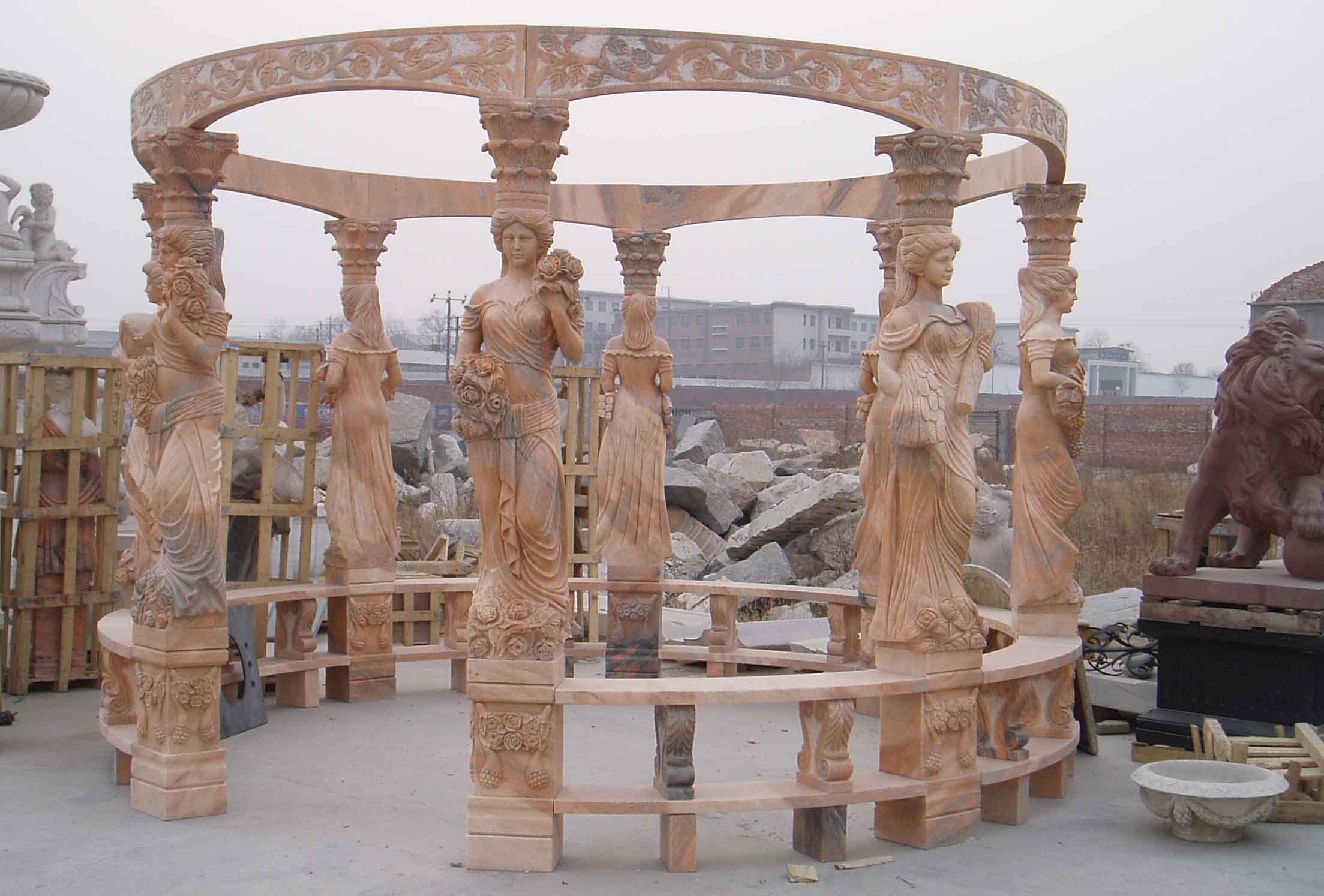 Marmo giardino gazebo con tetto in ferro e lady colonna giardino ...