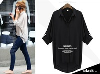 Женские блузки и Рубашки new fashion women loose blouses Chiffon Sexy Summer long sleeve Shirt Top white casual blouses
