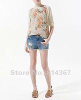 Free Shipping Fashion Sheer Floral Prints Crew Neck Jumper Knitwear WF-0098