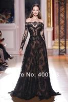 удобные от плеча сексуальная Зухаир Мурад длинные рукава выпускные платья кружевные черные вечерние платья знаменитости платья