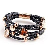 Кожаный браслет High-quality plated 18k rose gold bracelet 5 wrap real Leather charm titanium Stainless Steel Clasp Bracelet NSB356