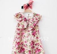 Платье для девочек 2012 dress branded design girls fashion flowery print Summer sleeveless chiffon dresses Korean clothes