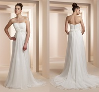 Свадебное платье 2012 chiffon strapless empire waist floral chapel train royal wedding dress