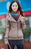 Four Colors 2013 New Korean Women's Casual Thickened Fur Collar Winter Short PU Coat Women Warm Cotton-padded Jacket M-XL