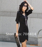 Женское платье 2013 ladies' fashion slim OL style half sleeve dresses women