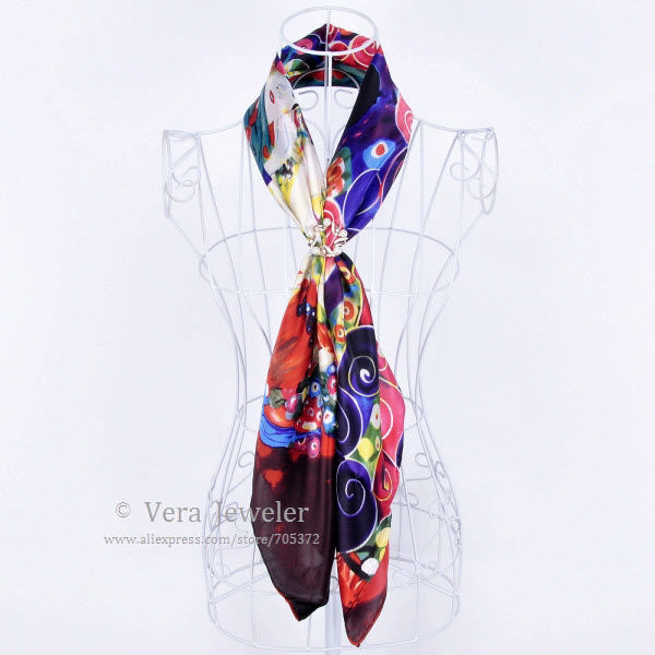 FS021211-BG 600 100% Silk Scarf Square Shawl Summer Scarf Gustav Klimt\'s Virgins Women's Scarf Head Scarves Blue Burgundy (6)