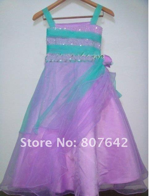 2012 New arrival lovely flower children dress, girl party dress Sky-463 Customed sizes & colors are possible