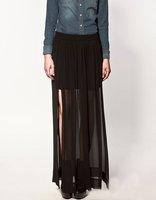 hot  Perspective skirt  Side split retro skirt European style asymmetric skirt  Before long short free ship