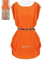 free shipping manufacturers supply women's sweet round neck beautiful dress with belt #C7699