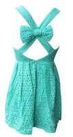 Free shoping Fashion pierced back bow embroidery fabric puff dress.Casual dress.Party Dress TB 2025