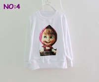 "Футболка для девочки 100% cottonNew 2013 t shirts for Children "" Masha and bear"" girls clothes Baby clothing"