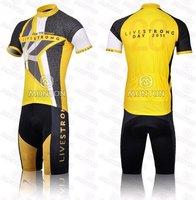 Мужская одежда для велоспорта hot sale 2011 livestrong cycling jersey short suit, cycling jersey and shorts, cycling wear yellow