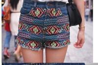 Free shipping National style retro denim shorts notu822