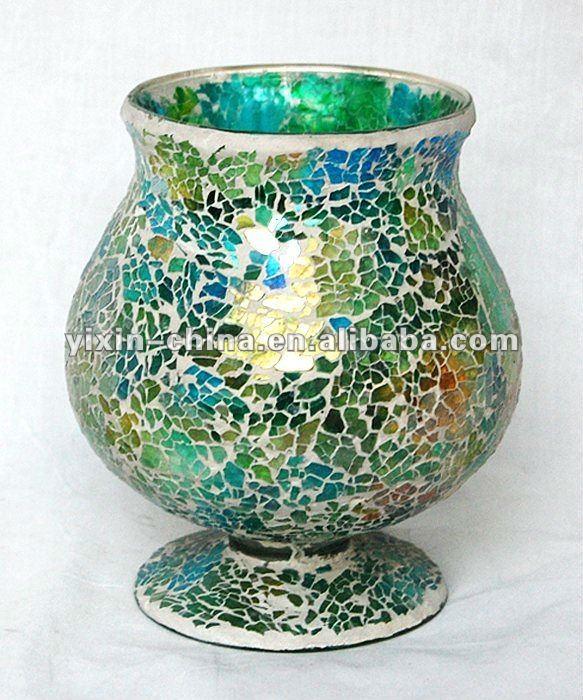 Cheap Mosaic Hurricane Flower Glass Vase For Home