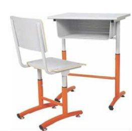 student desk wood top metal frame bent wood chair school desk
