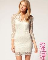 кружево тонкий v-образным вырезом 3/4 sleele платье 4size красивые usd14.11 rg1208058