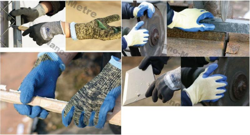 NMSAFETY Corte Resistente 13gauge Cinza PE / Fibra De Vidro De Malha Luva com imersão em látex azul completo
