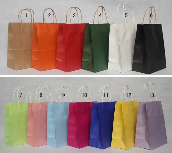 wholesale!Free shipping 13 Color  Fashion Hand Length Handle Paper Bag 27*21*11cm (50pcs/lot)