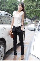 Hot Sale Summer/Spring Joker Trousers Bow Long Leisure Pants Fashion Lady Harem Pants Pockets S to XL Black Khaki 1 PC