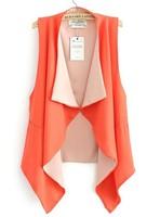 ZA Новая женская верхняя одежда пальто 3 цвета контраст цвета подол нерегулярные драпированные воротник шифон жилет ladyies ol