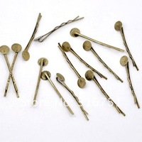Free Shipping 100 Bronze Tone Bobby Pins Hair Clips W/ Glue Pad 44x1.5mm(W01598 X 1)