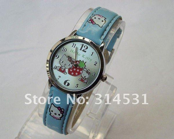 Hot sale!Free shipping 5 colors lovely hello kitty children's girl's leather strap wrist watches Sale,50pcs/lot