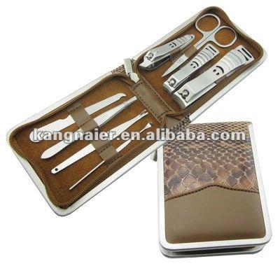 leopard manicure set,round shape manicure set,nail care set.