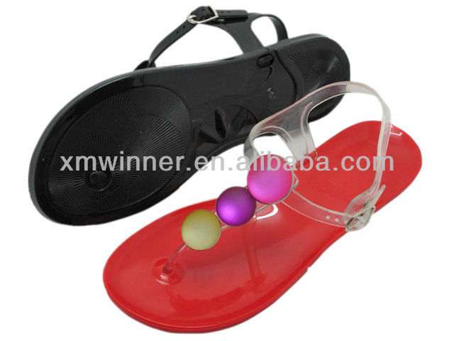 fancy stone plastic jelly thong sandals