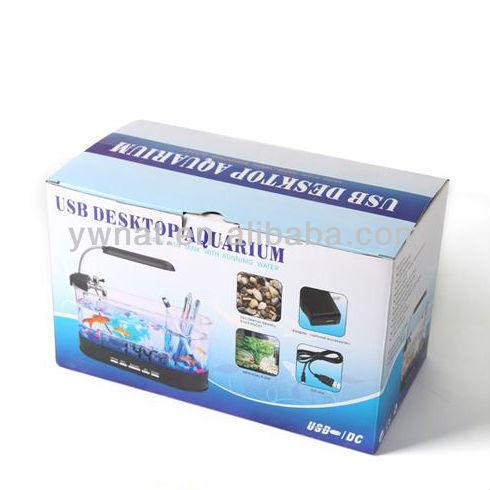 Small Glass Fish Tank,Led Lamp Usb Aquarium Oval Desktop Fish Tank ...