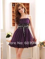 Женское платье 2012 SUMMER FASHION WOMEN CHIFFON TANK DRESS SATIN BELT LADIES ELEGANT A-LINE SUMMER DRESS OFF SHOULDER 3 COLORS