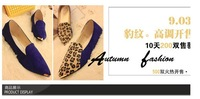 FreeShipping Autumn women's PU color pointed Leopard Printing square toe shoes, flattie, flat shoes,Latest design,casual shoes