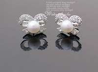 Alloy rhinestone ribbon pearl stud earring bowknot earrings studs.Mini Order Is $10,Can Mix Order