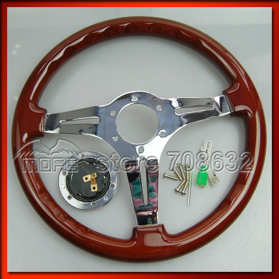 Universal 53mm Deep Corn Dish 3 Steel Spokes 350MM Wood Grain Steering Wheel For Sport Racing Car DSC_0071