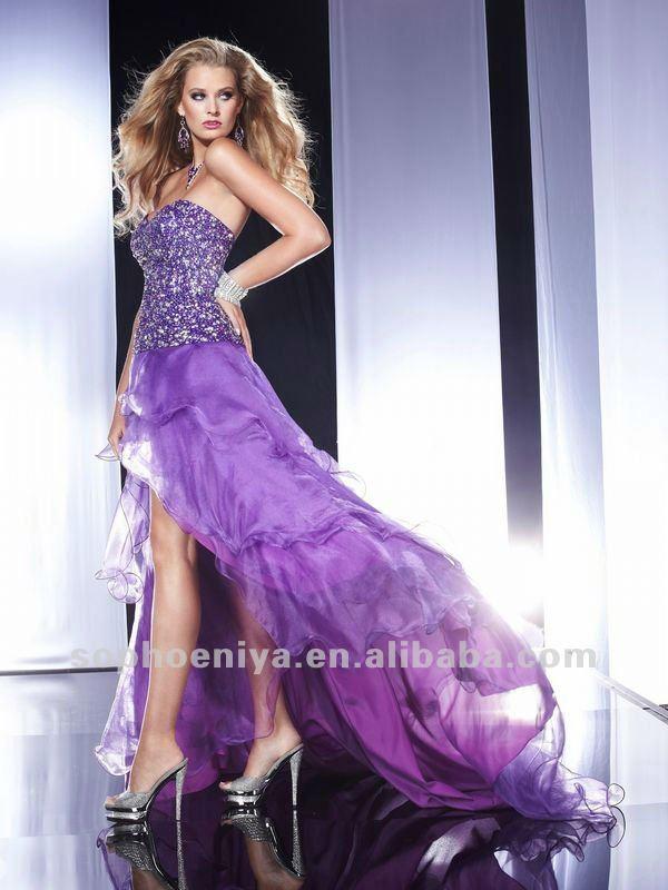 Hot sale Sweetheart Colorful beaded Purple Chiffon short puffy ...