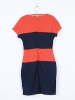 Fashion women crew neck color block short slleve slit bodycon dress with back zipper casual dresses  A1527