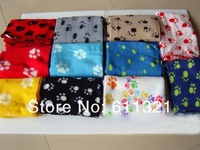 Одежда для собак Hot Sell Cute Soft Warm Towel Paw Prints Pet Puppy Dog Cat Fleece Blanket Mat 60x70cm V3290