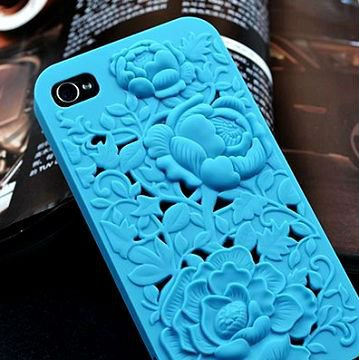 Beautiful Blue Engrave Flowers Design Hard Cover Plastic Case For iPhone4/4s