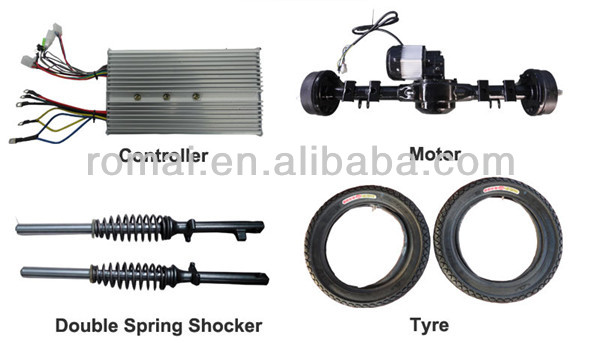 ABS roof 48V 850W motorcycle rickshaw with rear axle motor