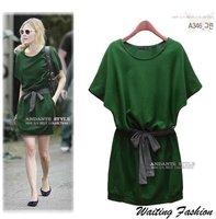 2012 New Summer Plus Size Short Sleeve Dress With Belt/Casual Cotton Green Dress Size XL XXL XXXL Drop Shipping