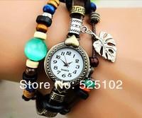 Наручные часы new Genuine Leather Hand Knit ancient wood Vintage Watches, bracelet Wristwatches Love leaves Pendant