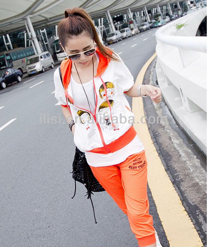zipper short sleeve hood t-shirt +seven-tenths trouser/pants
